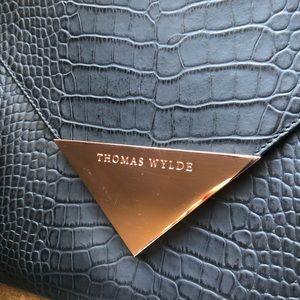 Thomas Wylde black leather croc  envelope clutch